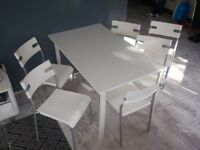 IKEA white table and 6 white chair HERMAN IKEA Stackable