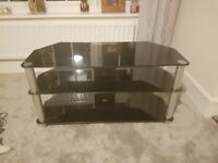 TV Stand Black Gloss Glass