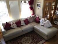 Cream Italian leather corner sofa suite settee recliner chair