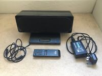 Black SONY iPod dock with remote and audio jack cable