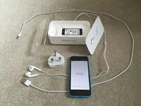 iPhone 5C 8GB Blue with box, charger & headphones. Perfect condition.