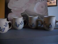 4 butterfly mugs hand made
