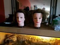 2 x hairdressing dolls heads