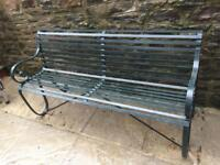 Ornate antique steel park bench