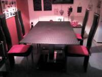 Large glass dining table with, 4chairs