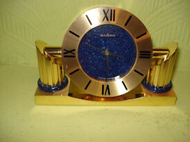 SWIZA FOR BUCHERER EXTREME QUALITY SOLID BRASS DESK CLOCK HAND PAINTED DIAL