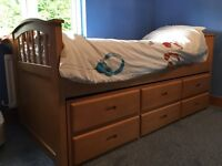 Oak single bed with stowaway and Tallboy dresser