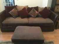 Excellent condition Barker & Storehouse 4 seater sofa & footstool, splits in two for easy removal
