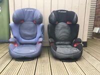 Pair of Maxi-Cosi Rodi XR child car seats - one black one blue