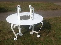 Wrought iron garden bench round tree seat white