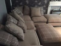 HOUSE OF FRAZER CORNER SOFA WITH MATCHING FOOTSTOOL APROX 14MTHS OLD .