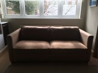 Brown wool sofa bed with double mattress