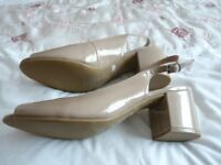 M & S 'Collection' block heel shoe - size 8 - wider fit- never worn -beige patent