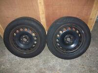 VW Golf MK4 , Bora etc . 1 pair of 5 stud 16 inch steel rims with dud tyres .