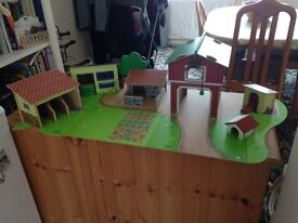 Amazing quality wooden farm set! 5+ buildings, wooden play mat