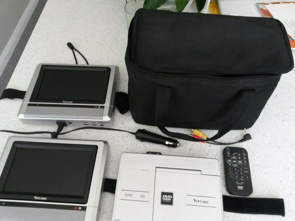 Venturer PVS19271 Portable DVD Player with Dual Woidescreen LCD Display