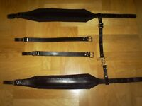 Accordion Shoulder Straps, 4 inches, Black Leather, Padded Lining - Deluxe