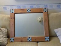 beautiful antique pine frame mirror with tile decoration detail