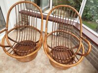 Conservatory Swivel Chair Vintage Retro feel - the bamboo rattan look SOLD