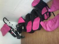 Pushchair carry cot ,foot muff &car seat