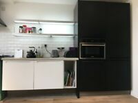 Kitchen cabinets, cupboards, worktop, sink & LED cupboard and shelves, Extractor hood