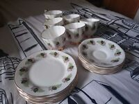 Clare teaset for 6 with cups, saucers and sideplates