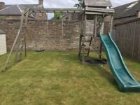 Wooden Climbing Frame with slide and swings