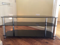 Black Glass TV Stand with Chrome Legs, Excellent Condition