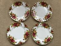 ROYAL ALBERT OLD COUNTRY ROSES 4 SMALL TEA PLATES 6""