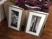 2 x New York Black & White Photos in Silver Gilt Effect Frames (Lot 2)