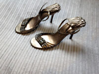 Womens size 6 bronze coloured strappy heels from Next, heel height 4 inches