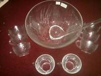 Punch bowl, china mugs and vintage wine boxes