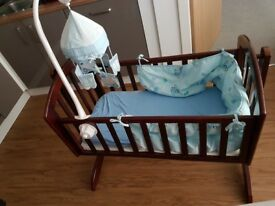 OBABY SOPHIE SWINGING CRIB AND MATTRESS NEW WE DIDNT USE