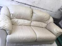 Cream leather sofa 3+1 seater