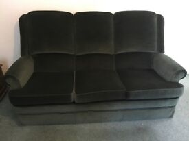A 3 seater sofa, recliner chair and non reclining chair