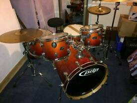 Pacific PDP fx series 5 peice drum kit w/ stands and cymbals