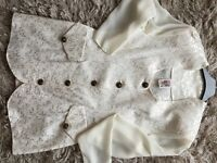 Women's jacquard suit in cream sweetheart neck size 12