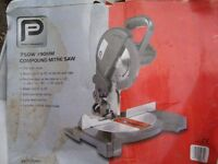 COMPOUND MITRE SAW AS NEW IN BOX ONLY USED FOR 1 JOB ONLY £20