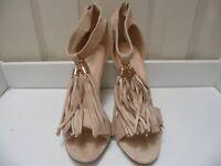 Womens Ladies Beige High Heel Tassel T-Bar Sandals Shoes Size UK 4,6,7,8 New