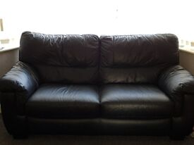 3+2 seater leather sofa black