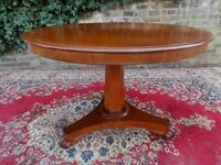 GENUINE ANTIQUE VICTORIAN MAHOGANY CIRCULAR DINING BREAKFAST TABLE IDEAL SIZE FOR LONDON FLAT V.G.C