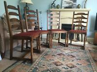 Four Solid Wooden Traditional Dining Room Chairs