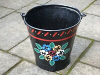 HAND PAINTED NARROW BOAT STYLE BUCKET/PLANTER FOR GARDEN. PERFECT FOR SPRING AND SUMMER FLOWERS!