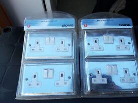 Chrome wall sockets. X 4 . New. 13amp