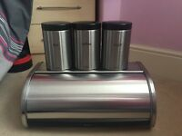 Brabantia Bread Bin and 3 Matching Cannisters