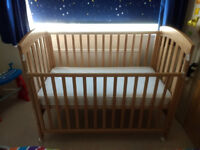 Excellent condition mothercare cot with like new best quality mattress