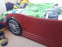 Childs red racing car bed frame