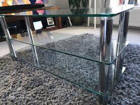 3 level Glass Entertainment Unit;Chrome effect legs;