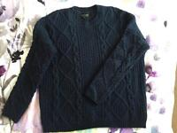 Topshop navy cable knit jumper angora blend