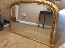 Decorative Gold Over Mantle Mirror